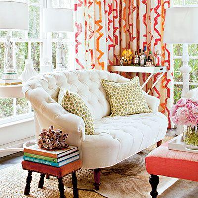 pink, orange + white: Decor, Ideas, Interior, Living Rooms, Color, Dream House, White Couch, Design, Sunroom