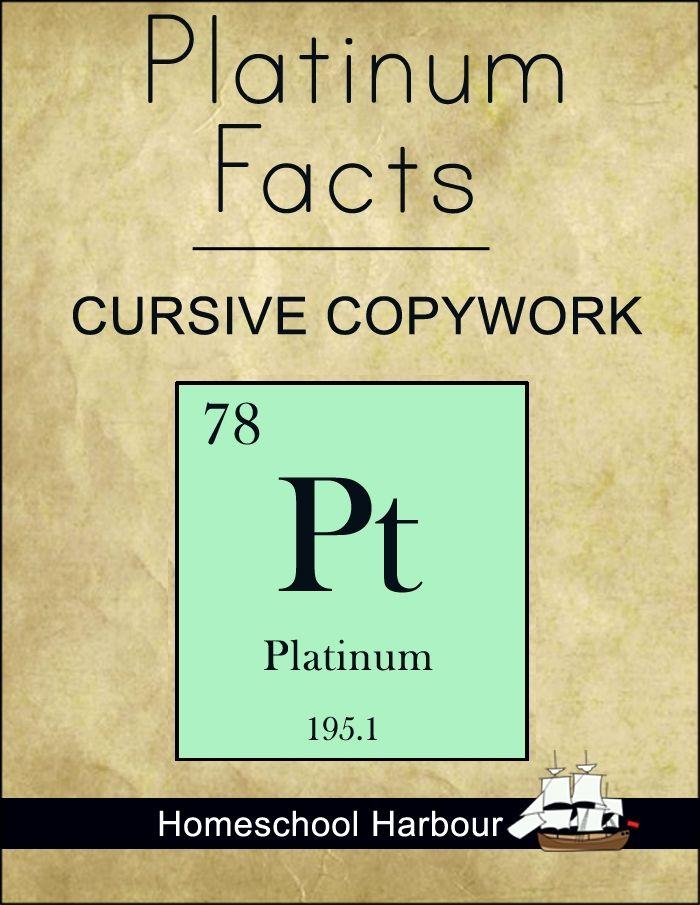 Platinum Facts Cursive Copywork Notebook - Homeschool Harbour   Periodic Table   CurrClick