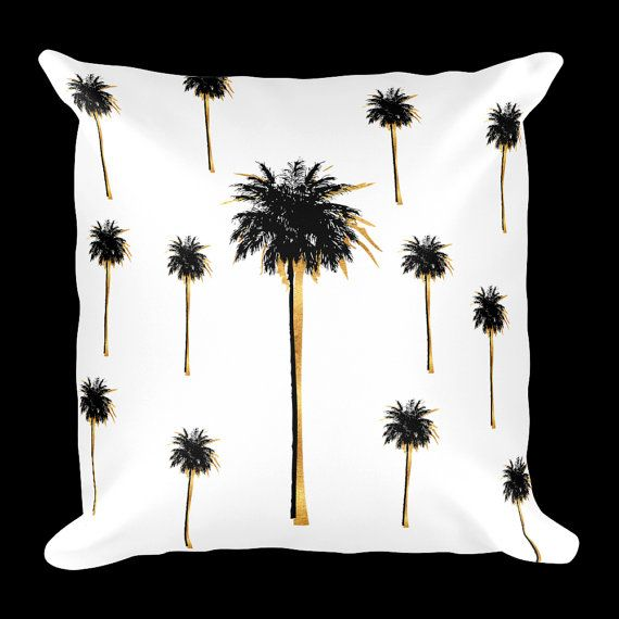 Palm Tree Pillow, White and gold Pillow,Decorative Pillow, Gold Palm tree, Gold Pillow, Pillow case, Pillow,  Contemporary pillow, Pillow
