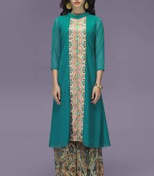 Buy Aqua Georgette  Polo Neck Top with Multi Colour Palazzo kurtas-and-kurti online