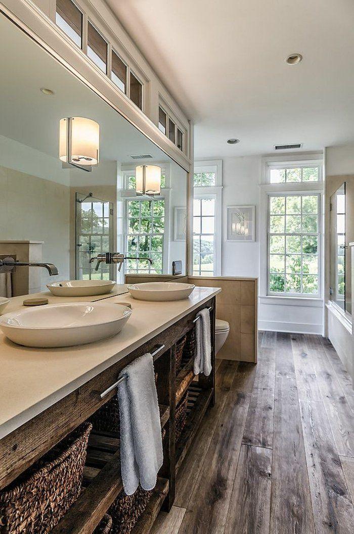 salle de bain de style rustique, couleur taupe, couleur beige, salle de bain rétro