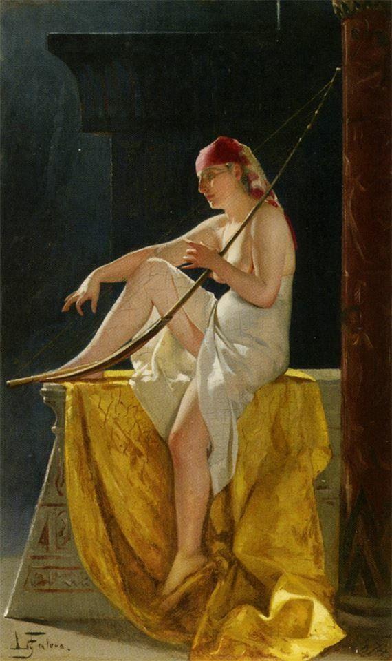 Egyptian woman with Harp 1874 Luis Ricardo Falero