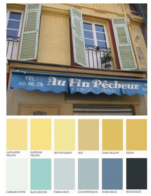 Lighter Muted Yellows With Pastel Blue Shutters And Brighter Deep Colors Found In The Awning