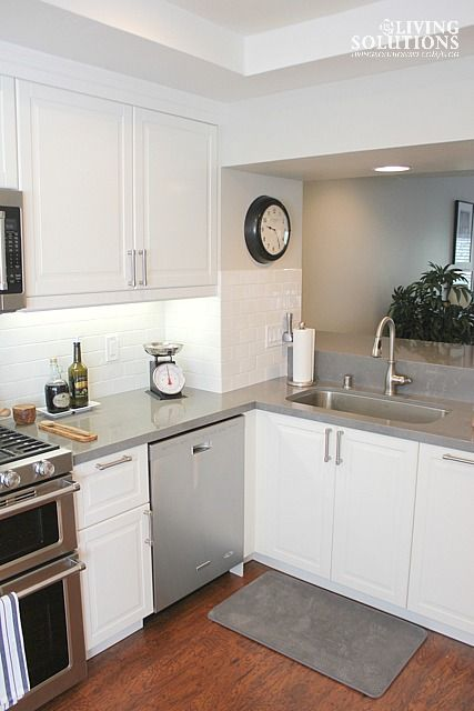 Countertops on Pinterest  Quartz Countertops, Gray Stained Cabinets