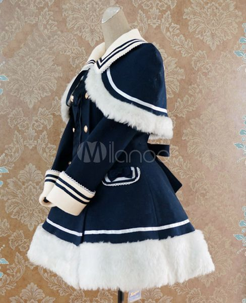 Navy Blue Waist-controlled Sailor Style Lolita Coat