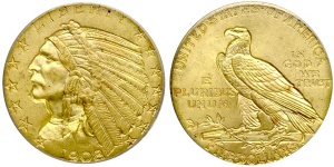 Indian Head Half Eagle $5 US Gold Coin Values