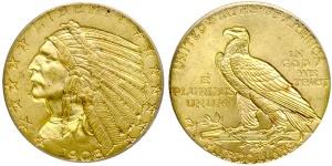 Indian Head Half Eagle $5 US Gold Coin Values