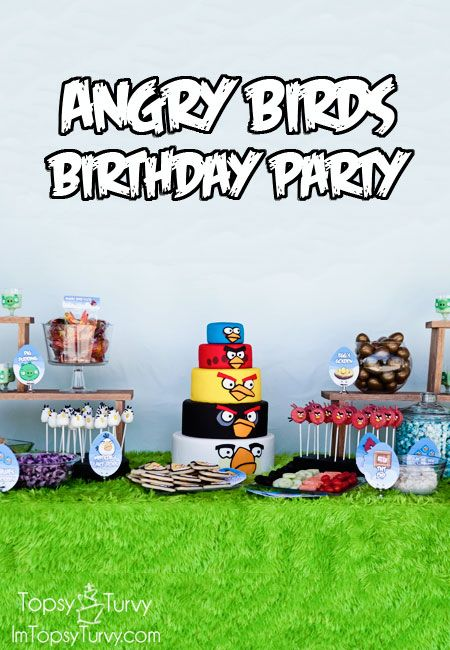 this angry birds birthday party has tons of themed food and labels, along with a simple, but impressive cake AND a life size game with hand drawn balls!