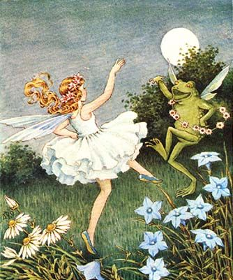 I just love the fairy & frog dancing together by the light of the moon!  ~ Ida Rentoul Outhwaite