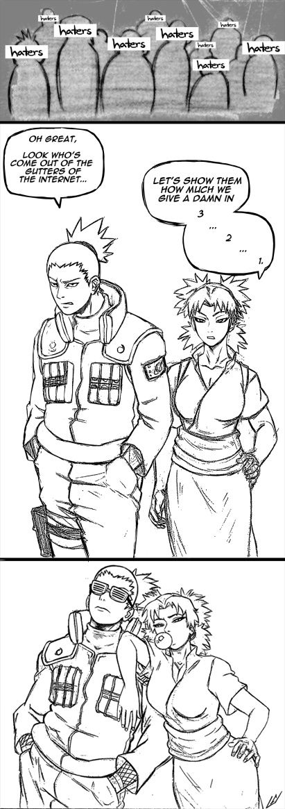 Shikamaru and Temari YAAASSS TELL EM SHIKATEMA F*CK THEM HATERS Y'ALL GOTTA ACCEPT KISHIMOTO'S ENDING AND THAT SHIKATEMA IS CANNON, TRUE NARUTO FANS WOULD DO THAT.