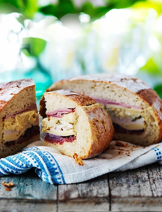 Reuben-style picnic loaf. Make a change from your usual sandwich with this flavour packed option.