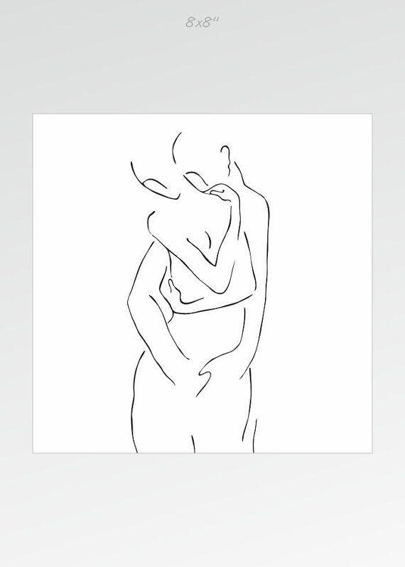 Impression d'art noir et blanc d'un couple. Étreinte par siret