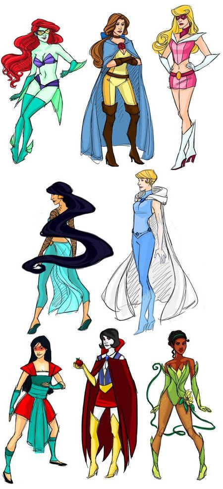Disney Princesses turned super heroes. And huh...Belle's still the best ✤ || CHARACTER DESIGN REFERENCES | Find more at https://www.facebook.com/CharacterDesignReferences if you're looking for: #line #art #character #design #model #sheet #illustration #expressions #best #concept #animation #drawing #archive #library #reference #anatomy #traditional #draw #development #artist #pose #settei #gestures #how #to #tutorial #conceptart #modelsheet #cartoon #female #lady #woman #girl || ✤