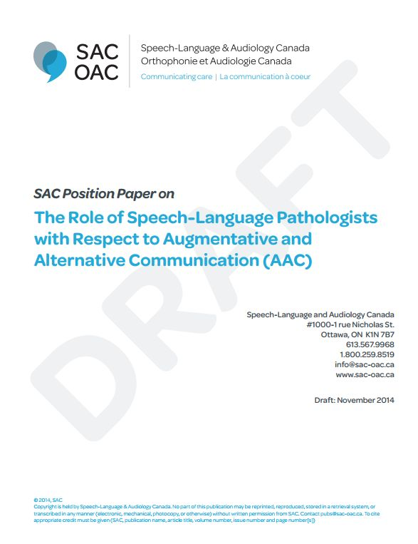 (PDF) DRAFT: SAC Position Paper on The Role of Speech-Language Pathologists  with Respect to Augmentative and  Alternative Communication (AAC)