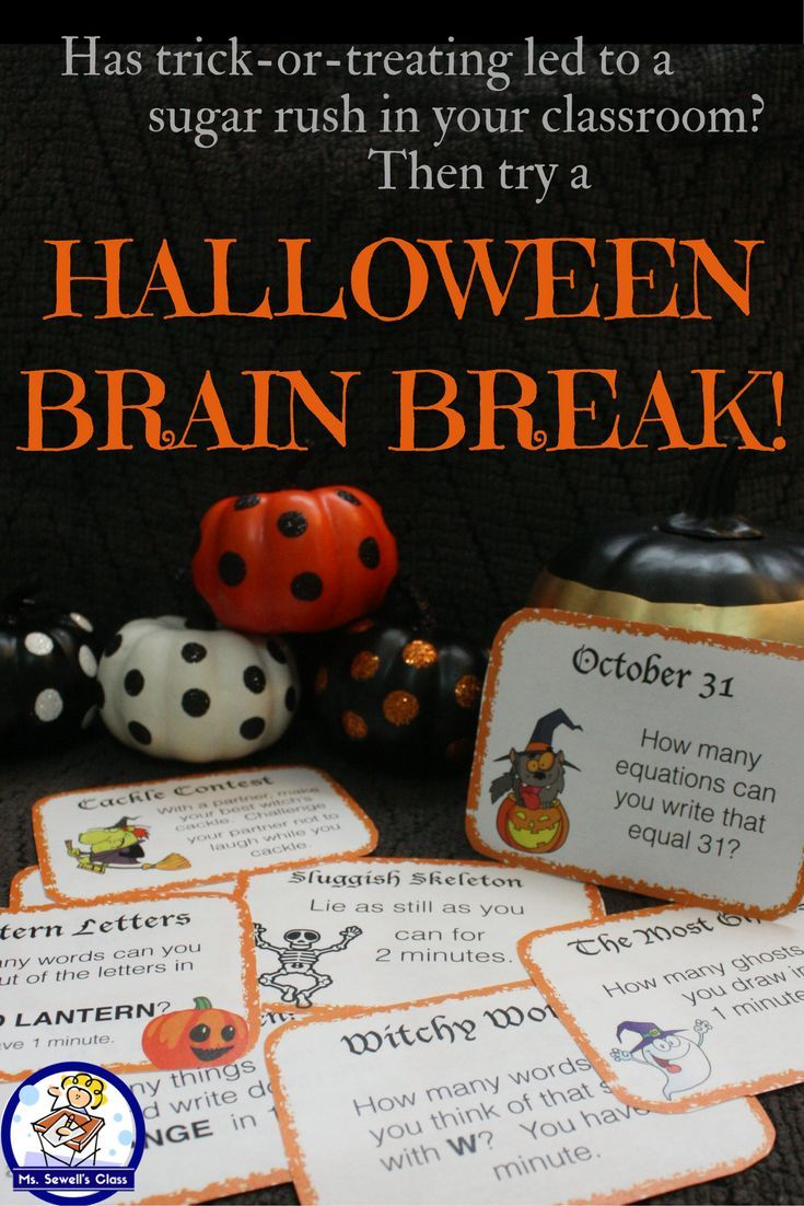 Need some quick, holiday themed, 1 minute activities for your classroom?  Then try these Halloween Brain Breaks! Printable cards can be added to a jar or glued to a stick and students can chose their activity. Beat the sugar rush this Halloween!