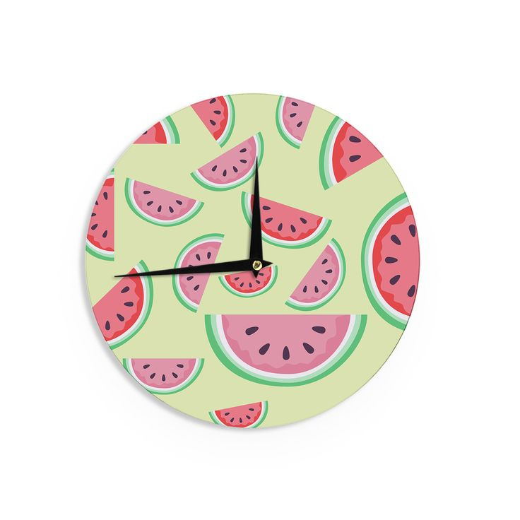 """afe images """"Watermelon Background"""" Pink Food Wall Clock from KESS InHouse"""