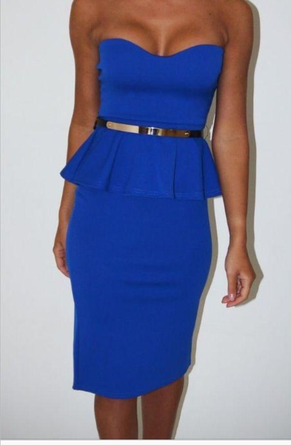 electric blue dress gold belt fashion blue