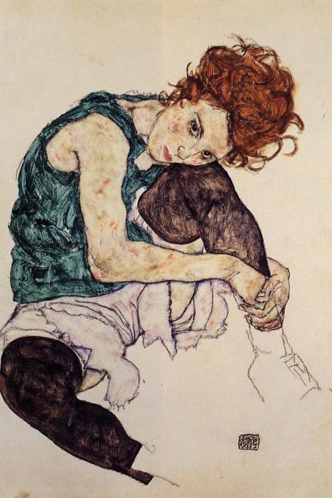 """Egon Schiele.""""Mujer sentada con la rodilla en alto. 1917. aguada, acuarela y carboncillo 46 x 30.5 cm."""