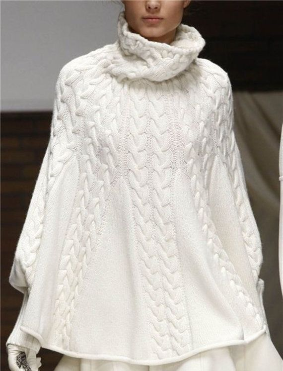 Poncho MADE TO ORDER  Hand Knit Poncho With Sleeves by Irenastyle, $249.00