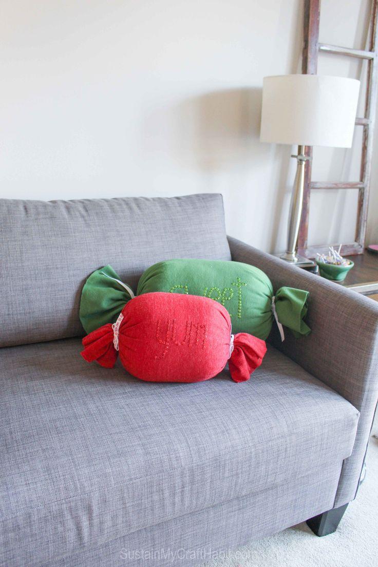 Christmas Throw Pillows Diy : DIY No-Sew Sweet Candy Throw Pillows Crafts, Christmas gift ideas and Thoughtful gifts