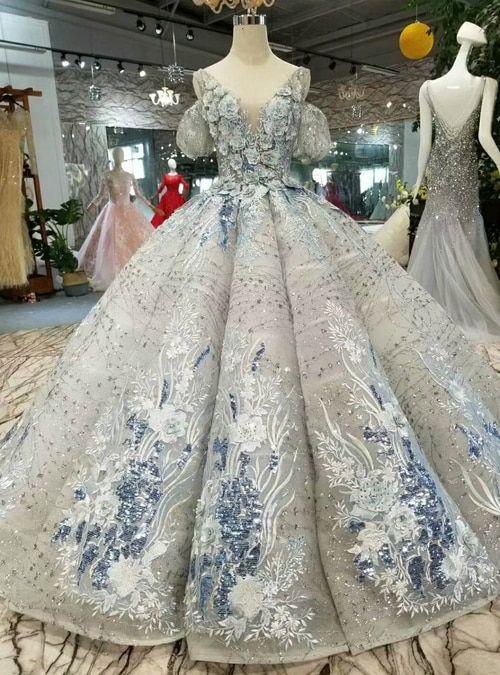 71418b3474 Silhouette:ball gown Hemline:floor length Neckline:v-neck Fabric ...