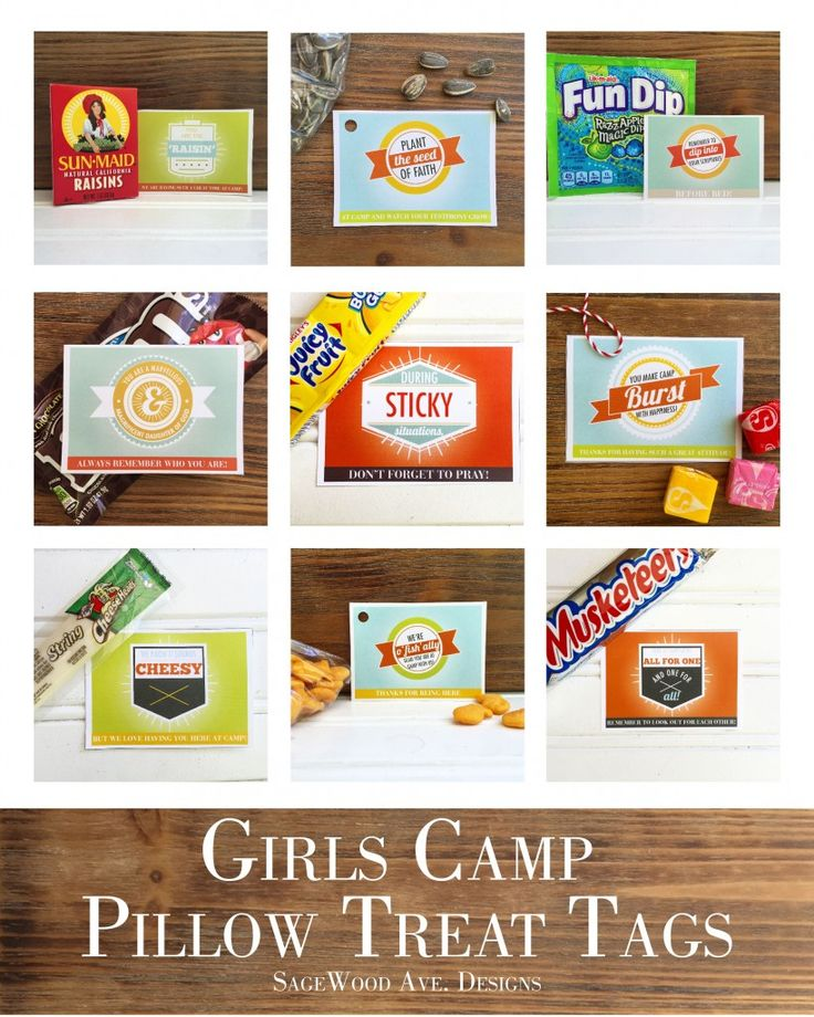 LDS YW Girls Camp Pillow Treat Tags