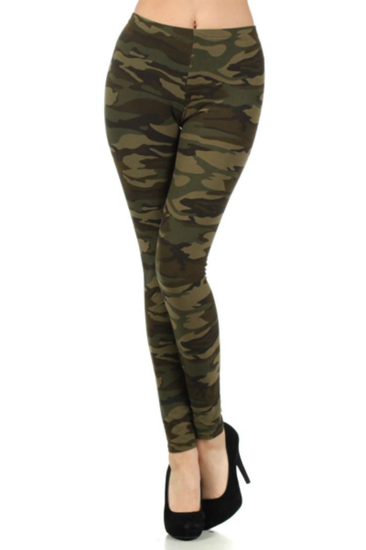 Brushed fabric leggings so soft you will never take them off.  Green Camouflage Leggings by Fashion Line. Clothing - Bottoms - Pants & Leggings - Skinny New York City