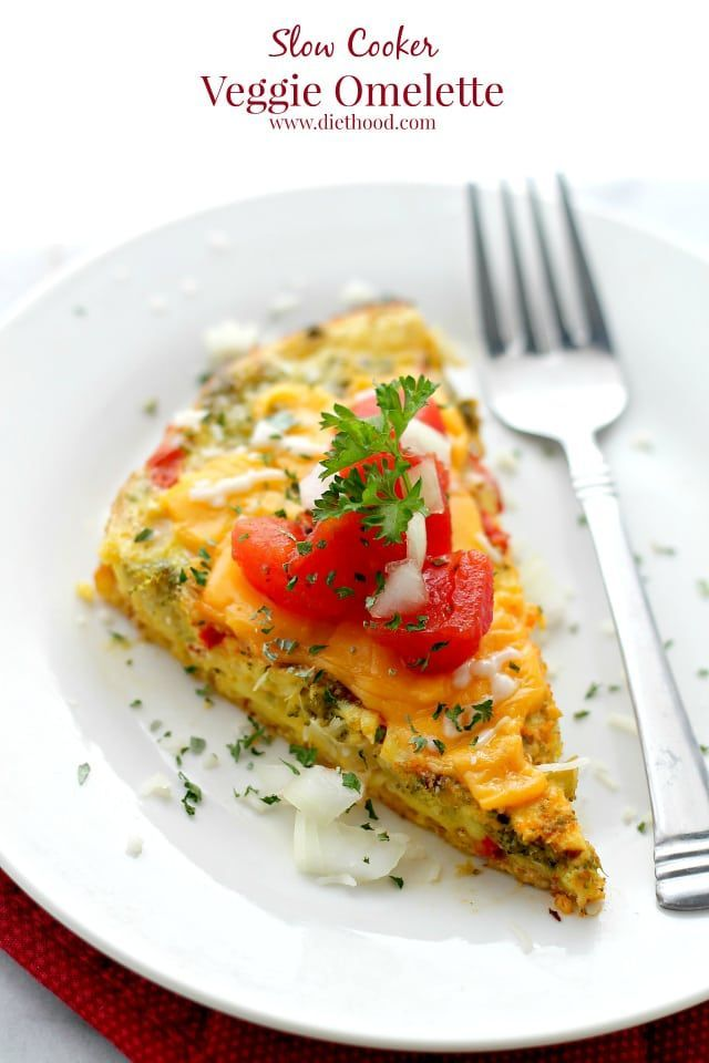 Slow Cooker Veggie Omelette - A delicious and simple breakfast Veggie Omelette cooked in the crock pot.