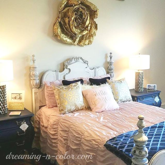 Dreamingincolor: Pink And Navy Bedroom Design