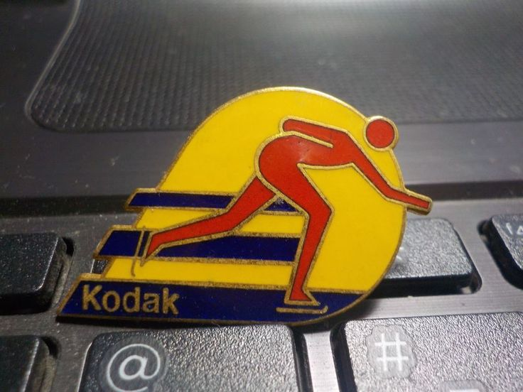 1983 Olympic Kodak Speed Skating Enamel Pin