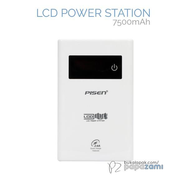 Pisen LCD Power Station 7500mAh (Apple White)  Product Name: LCD Power Station Brand: Pisen Type: Mobile Power Bank Weight: 200g Capacity: 7500mAh Output: Out 1: 5V==1A, Out 2: 2.5V==2A Input: 5V==2A  Pisen LCD Power Station 7500mAh * Supports most of the mobile phone brands in the market. * Stable & consistent output. * Dual USB Output(1A/2A) * Can be charged and discharged at the same time.   Package includes: * 1 x PISEN LCD Power Station 5000mAh * 1 x Micro USB Charging Cable * 1 x I...