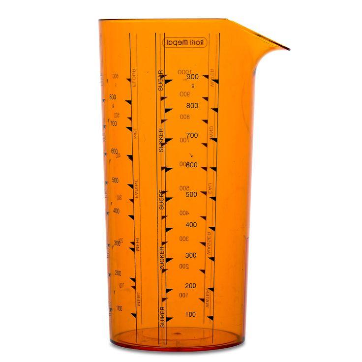 Echte keukenmaatjes: dat zijn deze duidelijk afleesbare maatbekers met schaalverdeling. Om ruimte in de keukenkast te besparen hebben ze geen handgreep, maar u pakt ze toch makkelijk vast dankzij hun kleine diameter. Afmeting: Ø 7 x 17 cm - Maatbeker 1.0 l - Oranje
