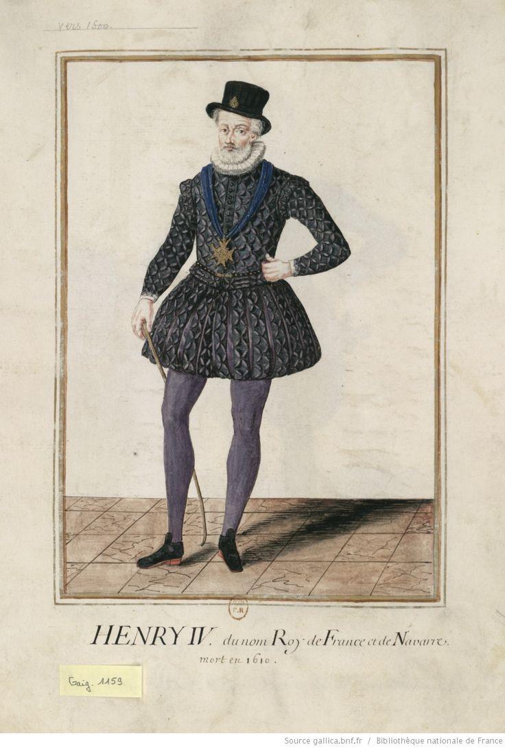 [Portrait de prince en pied. Il porte un chapeau à forme haute, un pourpoint et des hauts-de-chausses très amples. Sur la poitrine, le collier de l'ordre du Saint-Esprit ; à la main, une canne] : [dessin]
