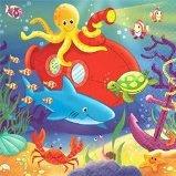 Festa Pesci e mondo sottomarino - festa di compleanno per bambini con coordinato tavola a tema pesci - piatti da 23 cm e 18 cm bicchieri e tovaglioli carta - festone e palloncini foil a forma di pesci.