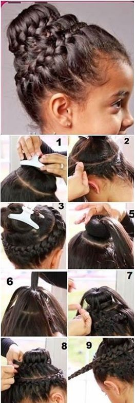 Double Crown Braid With Donut Bun Hairstyle...