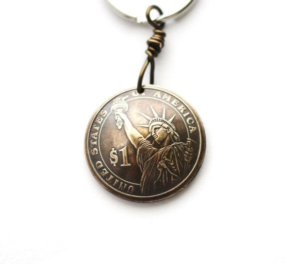 Domed Coin Key Ring Statue of Liberty Andrew Jackson by Hendywood