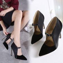 Femmes Hauts Talons de Courroie De Mariée Pompes Suede Match PU Bout Pointu Escarpins Femme Dames Chaussures Chaussure Mariage Dames Schoenen(China (Mainland))
