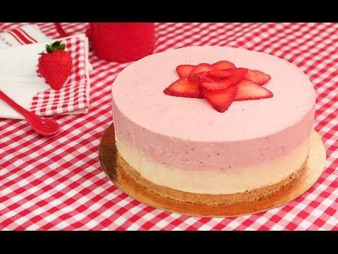 Tarta de Fresas y Chocolate Blanco sin Horno! - YouTube