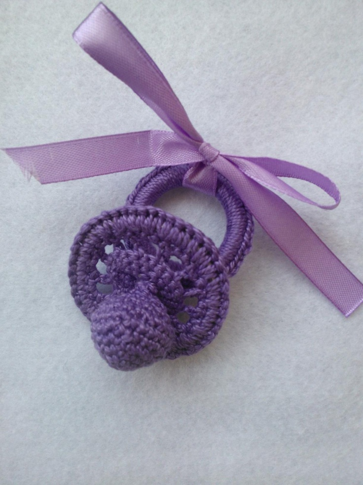 Chupete crochet (ganchillo) para adorno bebe