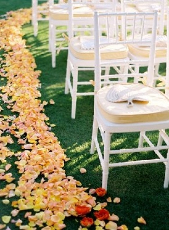 Rose petals can certainly make a wedding isle more lavish.