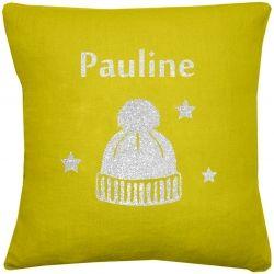 Coussin lin jaune moutarde motif bonnet à personnaliser, par les Griottes.