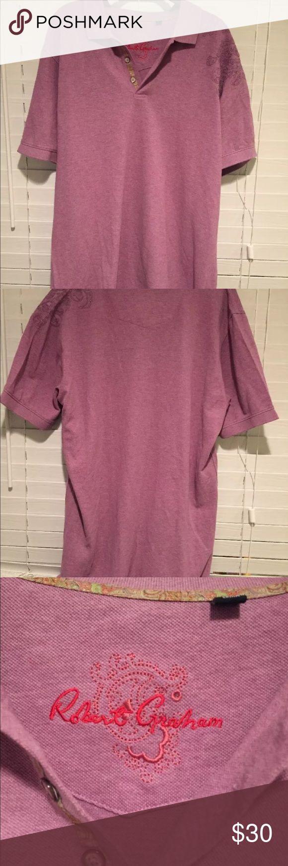 Robert Graham sz XL Purple Polo Shirt Embroidered Mens Robert Graham sz XL Purple Polo Shirt Embroidered Short Sleeve Robert Graham Shirts Polos