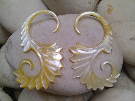 Yellow Mother of Pearl Shell Tribal Leaves Earring by Balidoit, $13.50