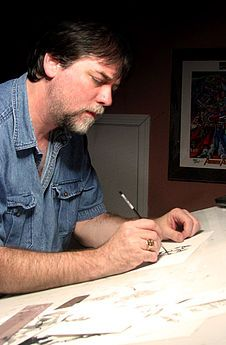 """Drawing power! Steve Epting is a pencil artist for Marvel, especially """"Captain America."""" The star-spangled Avenger died on his watch, but he got better. He also drew """"Fantastic Four,"""" where the Human Torch flamed out once and for all. Epting's first comic opportunity was at First Comics, when he applied at a contest """"held"""" by the company. They liked his stuff and used him as a substitute artist."""