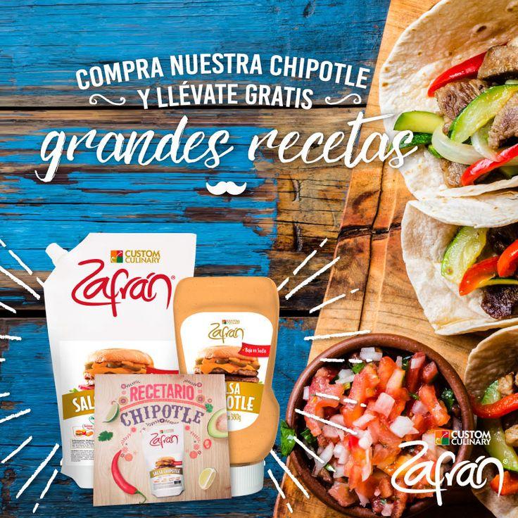 Compra nuestra Salsa Chipotle Zafrán® en cualquiera de nuestros puntos de venta a nivel nacional y lleva gratis el recetario, para que la incluyas en tus preparaciones. #recetaszafran #productoszafran #universozafran