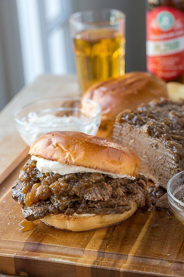 Beer-Braised Beef Brisket Sandwich | thecozyapron.com