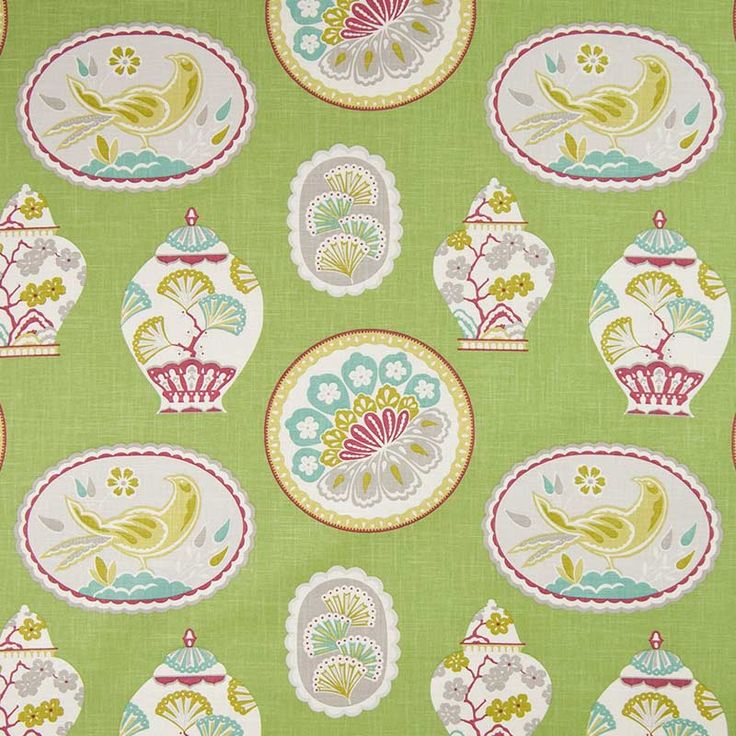 Warwick Fabrics : CHERRY GARDEN, Colour APPLE