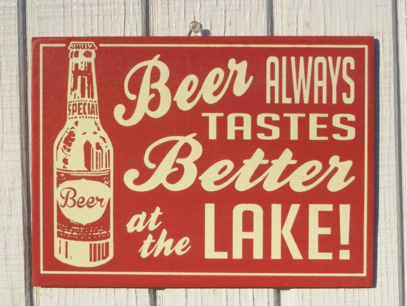 The companion sign to the retro Cocktails at the Lake sign I make. Choose Beer at the Lake or Beer at the Cottage in the drop down menu. Choose your color in the drop down menu, or request a special color.  A great gift idea for the host or hostess of a party at a lake home, or for yourself! Hand screened Vintage style lettering and retro aqua color with cream ink. How fun!! Measure 11w x 8.5 h.