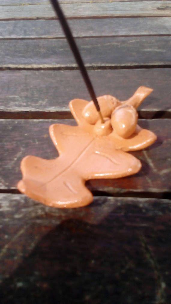 Oak Leaf Incense Holder / Ceramic Incense Stick Holder / Handmade Ceramic Incense Holder / Unglazed Clay Incense Burner
