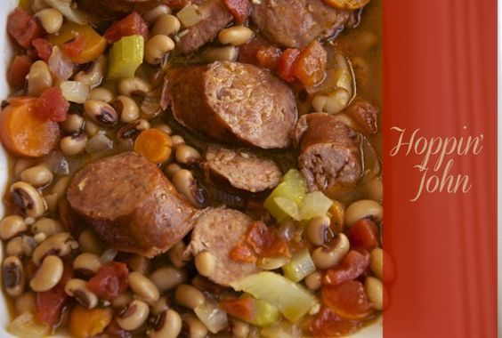 Hoppin John -- sausage, onion, carrot, celery, black-eyed peas and spicy tomatoes in the crock pot with some chicken broth and seasoning.